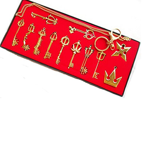 Kingdom hearts Sora keyblade 12 set Keychain Necklace Collection Box 2015 (Gold 12pcs)
