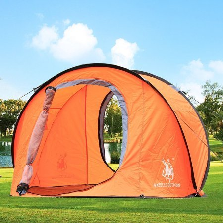 Camping Hiking Easy Setup Outdoor Large Pop Up Tent Orange