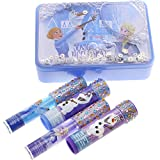 Townley Girl Frozen Sparkly Lip Set For Girls, 4 pack with Decorative Tin