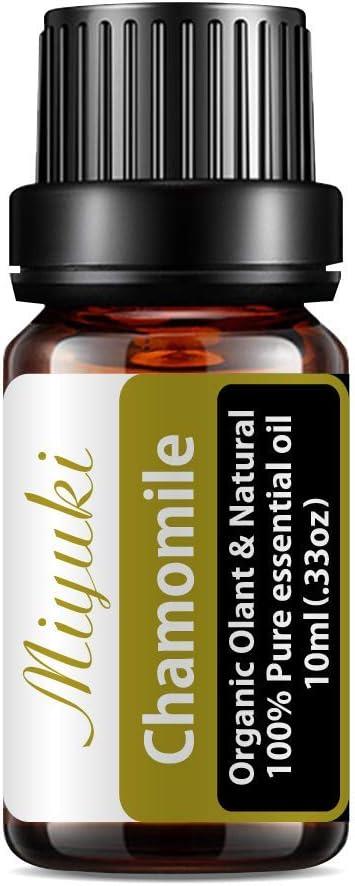 Miyuki Chamomile Essential Oils Organic Plant & Natural 100% Pure Therapeutic Grade Chamomile Aromatherapy Oil for Diffuser, Humidifier, Massage, Sleep, Perfume, Bath, SPA, Skin & Hair Care-10ml