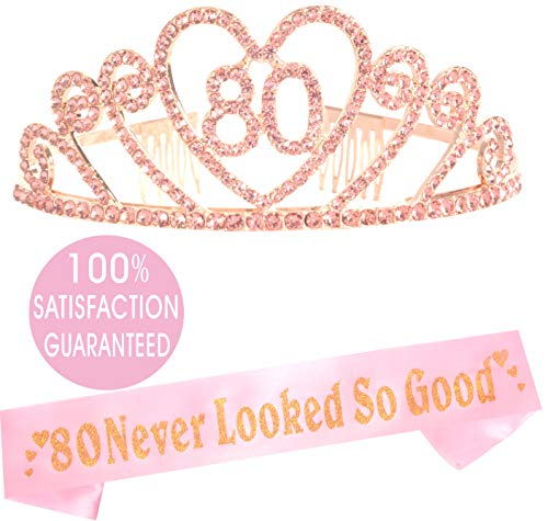 80th Birthday Tiara and Sash| Happy 80th Birthday Party Supplies| 80 & Fabulous White Glitter Satin Sash and Crystal Tiara Birthday Crown for 80th Birthday Party Supplies and Decorations (Pink Heart)]()