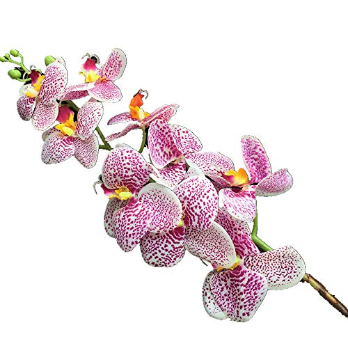 jiumengya 8pcs Artificial Purple Leopard Printing Phalaenopsis Butterfly Moth Orchid Fake Spots Orchids Flower for Wedding Centerpieces Decorative Artificial Flowers (Purple)