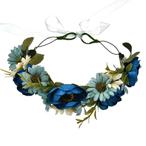 Vivivalue Boho Handmade Rose Flower Wreath Halo Headband Floral Hair Garland Crown Headpiece with Ribbon Festival Wedding Blue ()