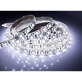 Quntis 16.4FT 5M SMD 5050 Flexible LED Strip Cool White High Density Color Changing 300LEDS LED Light Strip Lamp 12V Power Supply Waterproof IP65