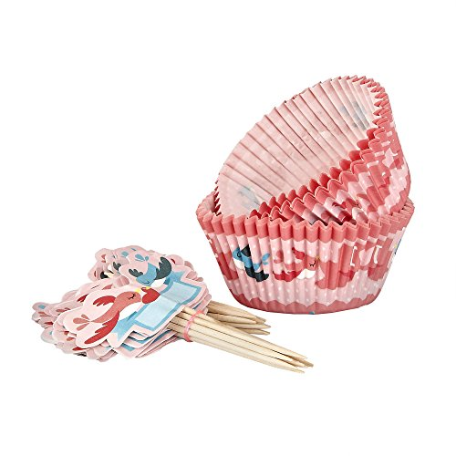 Sweet Creations 24 Count Valentine's Day Baking Cup Cupcake Papers with Toppers, XOXO, Red