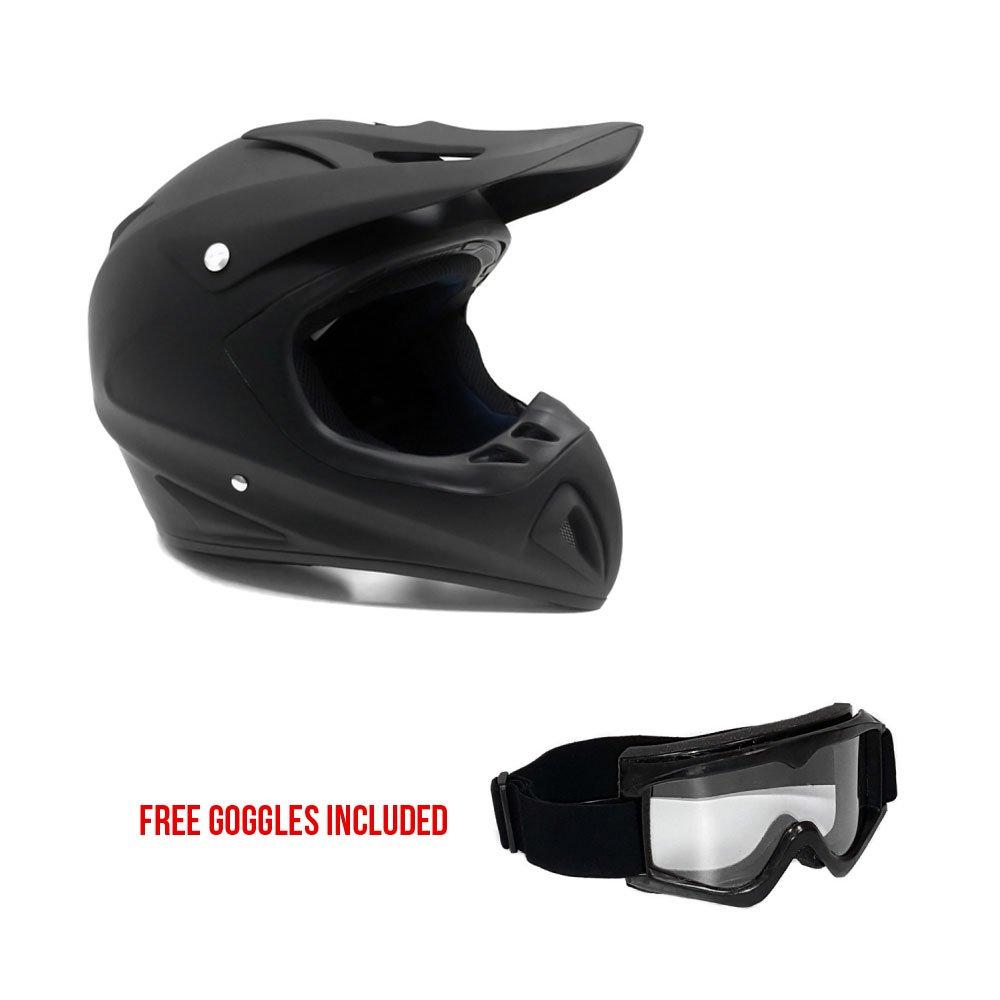 Adult Motorcycle Off Road Helmet - MX ATV Dirt Bike Motocross UTV - Flat Matte Black Medium With Riding Goggles