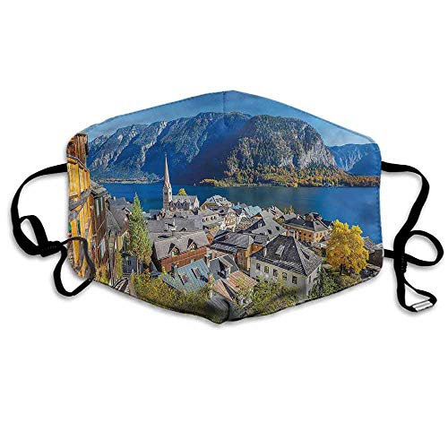 Fall Fashion Mouth Mask Mountain Village Austria for Cycling Camping Travel W4