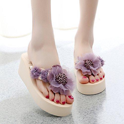 di ladies antiscivolo fondo beach Fiori pantofole seaside clip moda spesso scarpe flop FLYRCX flip g dolci piedi con COqwXf