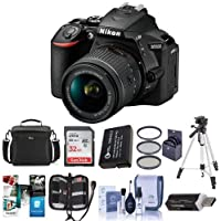Nikon D5600 DSLR Camera Kit with AF-P DX NIKKOR 18-55mm f/3.5-5.6G VR Lens, Black - Bundle With Camera Case, 32GB SDHC Card, Spare Battery, Tripod, 55mm Filter Kit, Software Package And More