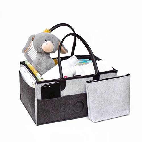 Sleepy Monkey Diaper Caddy: Felt Baby Diaper Caddy + Cosmetic Bag Set| Stylish,Sturdy Waterproof Storage Caddy Organizer with Leather Handles| Nursery & Car Travel Organizer| Top Baby Shower Gift by Sleepy Monkey