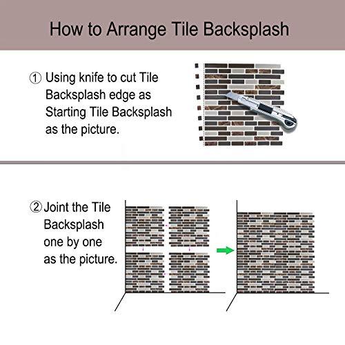 "Peel and Stick Backsplash,HONJAN Renters Groutless Removable Adhesive Vinyl Muretto Brina Backsplash Tiles for Kitchen Bathroom 10""x10"" Pack of 13 (A) by HONJAN (Image #4)"