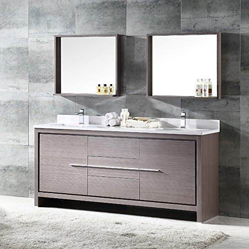 Outlet Fresca Bath Fvn8172go Allier 72 Modern Double Sink Bathroom Vanity With Mirror Gray