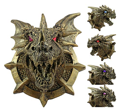 Ebros Medieval Castle Dungeons And Dragons Prisoner Golden Dragon Hanging Wall Plaque Decor With LED Illuminated Eyes Sculpture Welcome Plaque Home Decoration Medieval Renaissance 3D Art GOT (Wall Dragon Plaque)