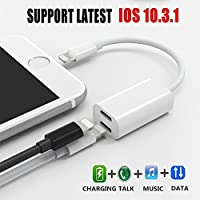 iPhone 7 Adapter And Splitter, Dual Lightning Headphone Earphone Audio and Charge Adapter .Dual 8 PIN Port Convertor For Compatible IOS10.3 System Support Phone Calling.Sync Data And Audio