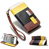 2010kharido Apple iPhone 5 5S Leather Flip Designer Stripe Wallet Case Cover Pouch Table Talk New Yellow