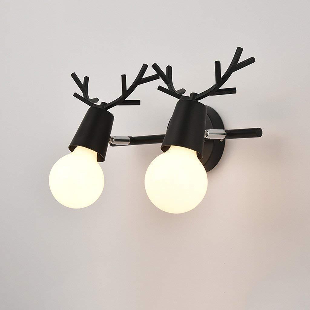 B schwarz-2 Head ZHAS Spiegelfrontlicht Geweihspiegel Scheinwerfer, Nordic Creativity Wasserdicht und beschlagfrei Schminktisch Make-up-Lampe Hauptbeleuchtung A + (Farbe  A  Schwarz-2-Kopf)