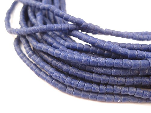 Ghana Sandcast Beads - Full Strand of African Powder Glass Beads - The Bead Chest (3mm, Cobalt Blue) - Single 26