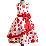 FACOCO Polka dot Princess Dress Girl Irregular Skirt Cute Bow Dress Red 110cm(4-5 Years)