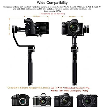GOWE Gyroscope Handheld Gimbal Stabilizer for Sony Panasonic Canon Fujifilm and Similar Weight Size Mirrorless Camera - - Amazon.com