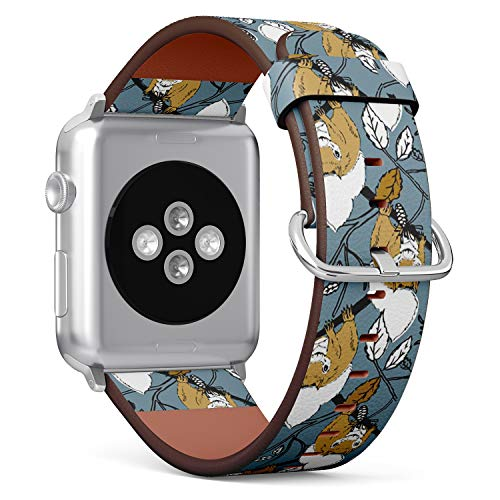 Squirrel Steel (Compatible with Apple Watch (Small Version) 38 / 40mm Leather Wristband Bracelet with Stainless Steel Clasp and Adapters - Squirrel Forest)