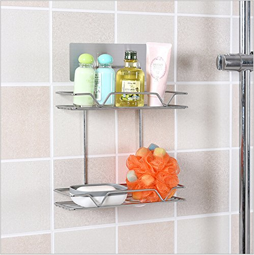 Yontree 2 Tiers Stainless Steel Bathroom Wall Mount Rack Kitchen Storage Rack Refrigerator Wall Hanging Rack Silver