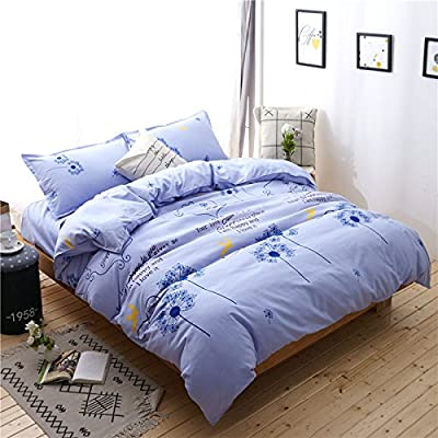 "KFZ Bed Set Bedding Set Cotton Duvet Cover Flat Sheet Pillow Covers No Comforter YJ Twin Full Queen Size Hero Dream Star Prospect Leaves Design for Girls Kids (New Dream, Blue, Twin, 59""x79""): Home & Kitchen"