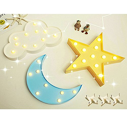 Crescent Wall - Decorative LED Crescent Moon Cloud and Star Night Lights Lamps Marquee Signs Letters for Baby Nursery Decorations Gifts for Children ( moon cloud and star )