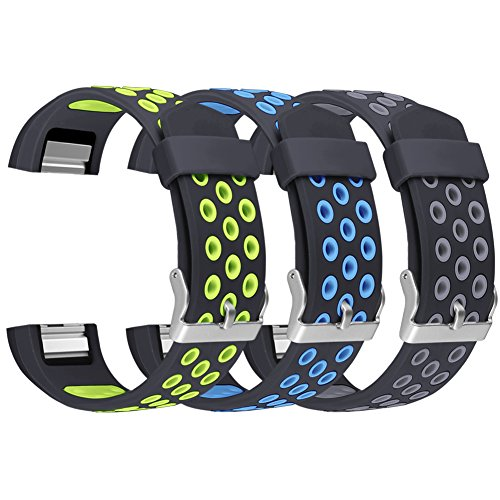 For Fitbit Charge 2 Bands, UMAXGET Replacement Accessory Sport Wristbands for Fitbit Charge 2 Pack 3 black&green, black&blue,blue&gray small