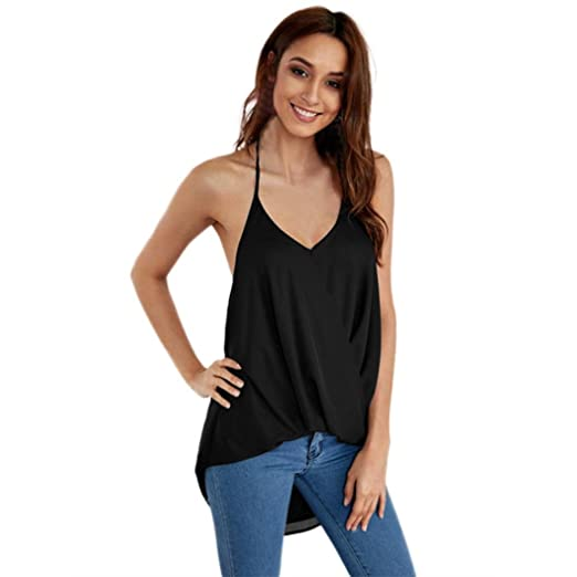 45fb8643b98b Amazon.com  Paymenow Women Solid Summer Vest Sexy Wrap Camisole Halter Neck  Backless Asymmetric Shirts Tank Tops  Clothing