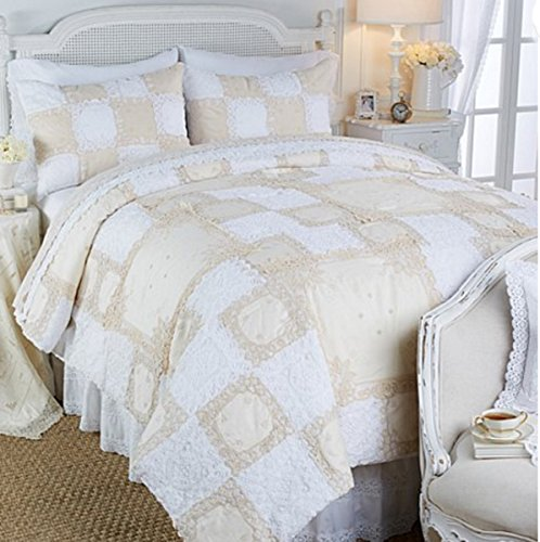 Clever Carriage Home Lace Patchwork 3-piece Cotton Comforter Set ~ (Full/Queen)