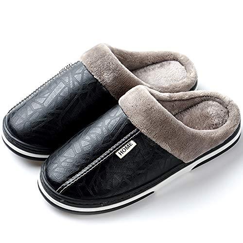 Men's Women's Slippers Foam Memory House Outdoor Indoor Shoes Slip-on Sole Clog Plush Anti-Skid Comfort Fleece Lining Fuzzy Cotton(9.5 M US Men - 10.5 M US Women,26.5 cm Heel to Toe ()