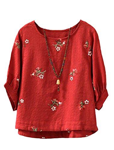 MatchLife Femme Casual Top Floral T-Shirt Haut Classique Rouge