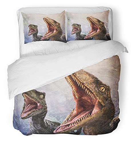 Emvency 3 Piece Duvet Cover Set Brushed Microfiber Fabric Breathable Los Angeles USA Sep 27 Velociraptor in Area The Universal Studios Hollywood Bedding Set with 2 Pillow Covers Full/Queen Size by Emvency