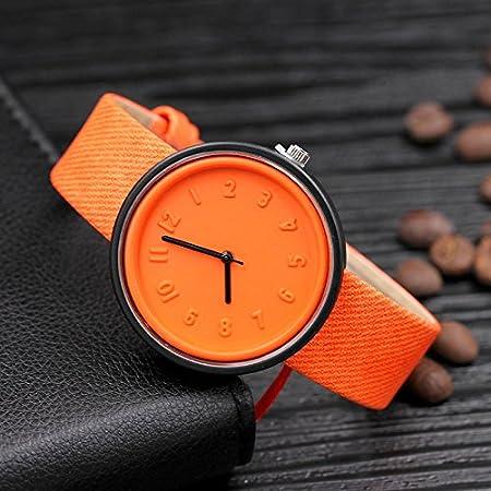 Coloré(TM Unisexe De Mode Casual Robe Montre Motif Toile Bande De Toile À Quartz Montres (Orange): Amazon.fr: Sports et Loisirs