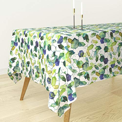 Roostery Watercolor Jade Tablecloth - Watercolor Home Decor Jade Jewels Watercolor Geometric Modern Home Decor Abstract Diamonds by Karismithdesigns - Cotton Sateen Tablecloth 70 x 108