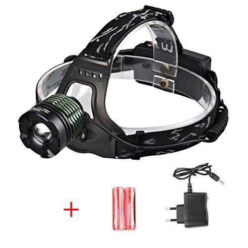 Zoweetek® Wiederaufladbare LED Stirnlampe Kopflampe 1200LM mit CREE T6,3 Modi Super hellen LED-Scheinwerfer mit Akkus und Ladegerät für laufen, Camping, Wandern, Angeln, Jagd, lesen