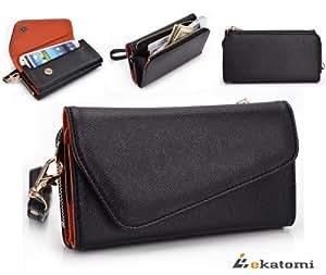 [Urban] Universal Phone Cover Shoulder Bag Wrist-let Wallet Purse fits Toshiba G710 - BLACK & RUST ORANGE