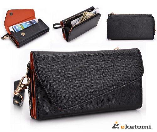 Universal Wristlet Women's Wallet fits Samsung I9500 Galaxy S4 Phone Case - RUST ORANGE & BLACK [UrBan Series]