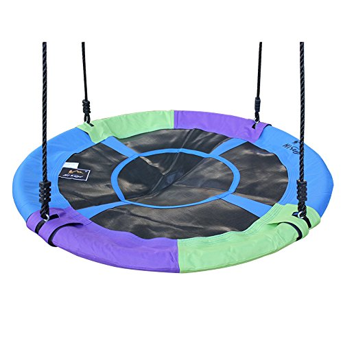 Hi Suyi 100cm/40inch Disc Giant Nest Web Rope Hanging Tree Swing Seat Set Heavy Duty Easy to Set Up for Kids Children Adult Outdoor Backyard Garden Large Size -