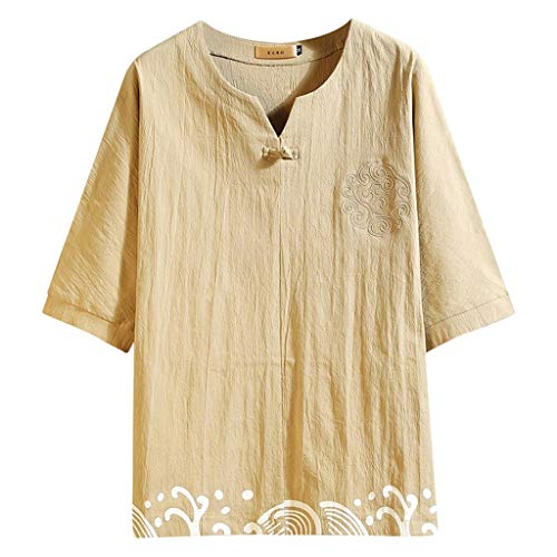 LUCAMORE Mens Chinese Style Vintage Short Sleeve Printed Frog Button Linen Top Blouse Shirts Khaki