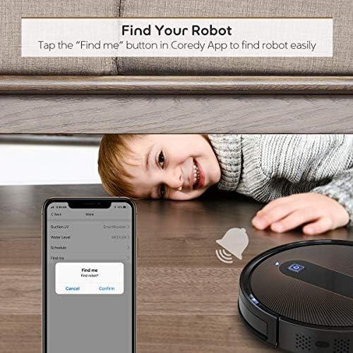 Coredy R750 Robot aspiradora, compatible con Alexa, sistema de fregado, intelecto Boost, soporte para límite virtual, aspiración de 2000 Pa, superdelgada, actualizada, aspiradoras robóticas, limpia el piso duro a la alfombra. 8