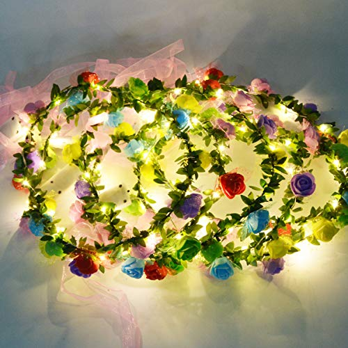 Homeleo 6-Pack Light Up Flower Crown for Christmas New Year Party, LED Rose Flower Light Up Tiara, Xmas Wreath Garland Headband, Halloween Fairy Make up Headdress -