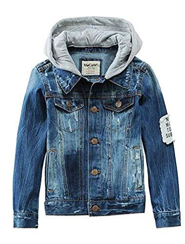 Mallimoda Kids Boys Girls Hooded Denim Jacket Zipper Coat Outerwear Style 4 Denim 3-4 -