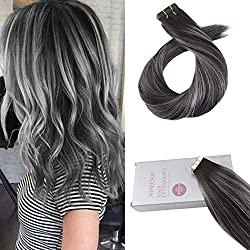 Moresoo 14 Inch Tape in Hair Extensions Real Human Hair Off Black #1B Fading to Silver Highlighted with Black Balayage Color Straight Human Hair Extensions Tape in Hair 20pcs/50g