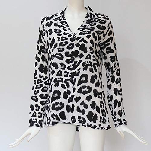 Damen Langarmshirts Hemd Bluse Sommer Oberteile Tunika Leopard Chiffon Tops