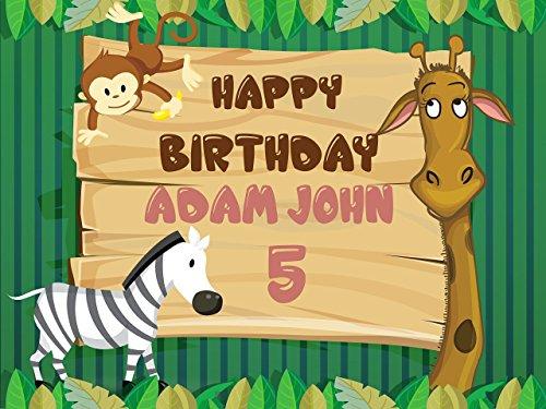 Custom Home Décor Jungle Animals Birthday Poster for Kids - Size 24x36, 48x24, 48x36; Safari Jungle Birthday, Zoo Birthday, Jungle, Kids Animal Birthday Banner Wall Décor; Handmade Party Supply Poster