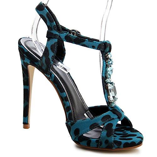 topschuhe24 - Zapatos de vestir de tela para mujer Azul - Blau Animal