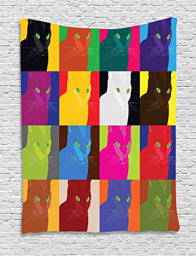 Ambesonne Cat Decor Tapestry by, Pop Art Style Featured Fractal Kitty Portraits Frame with Color Effects Artsy Print, Wall Hanging for Bedroom Living Room Dorm, 40WX60L Inches, Multi