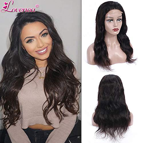Malaysian Human Hair wigs Body Wave 4x4 Lace Closure Wig Pre Plucked Unprocessed Remy Human Hair lace front wigs for Black Women with Baby Hairs Natural Color By Lovenea (14, Lace Closure Wig)]()