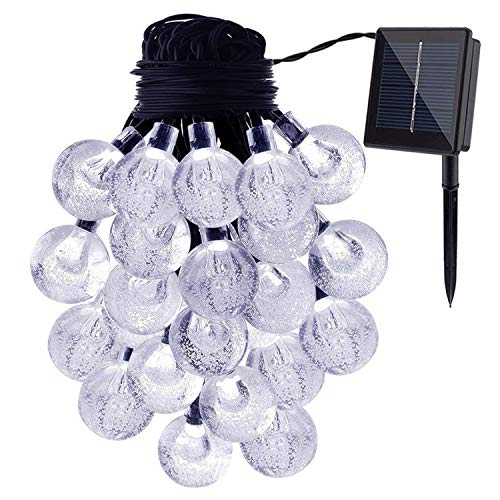 (ALHXF Waterproof Solar Crystal Ball String Lights (189in,20 LED) Indoor Outdoor Globe Fairy String Lights Starry Lights, Xmas Lights for Garden, Home, Wedding Patio Summer/Holiday)